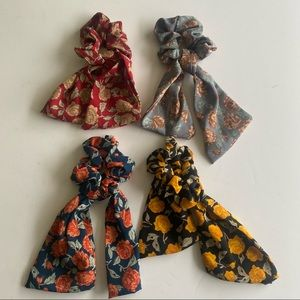 Bowknot Floral Ribbon Hair Scrunchies 4 Pieces